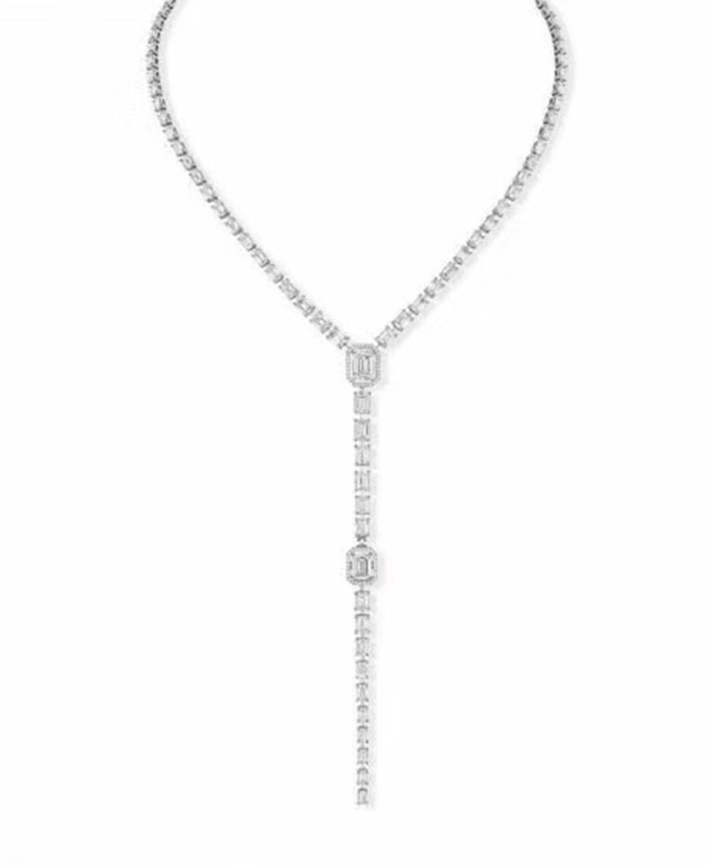New 925 Silver drip long Necklace Fashion Collier Femme Full of zircon square necklace gold silver rose pink france JewelryNew 925 Silver drip long Necklace Fashion Collier Femme Full of zircon square necklace gold silver rose pink france Jewelry