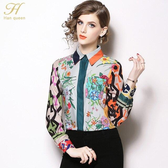 H Han Königin Frauen Vintage floral Print Damen Tops chiffon langarm Casual Bluse Weibliche Arbeit Tragen Büro Shirts