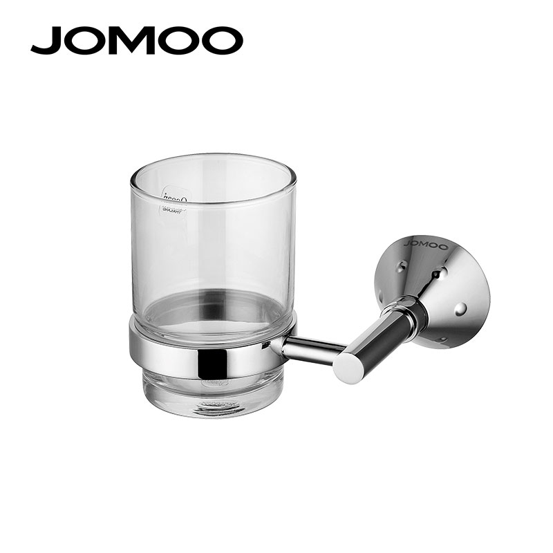 JOMOO Tumbler Holder Wall Mounted Toothbrush Holder Brass Chrome Single Cup Glass Bathroom Accessories Cup Holder Hanger image