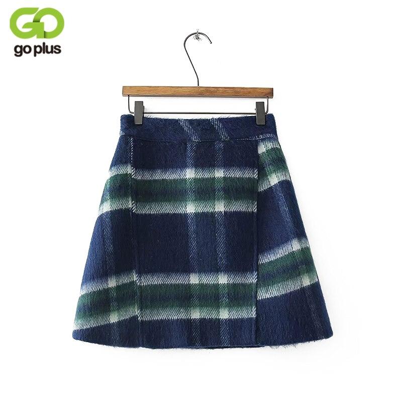 GOPLUS Autumn Winter A-line Skirt 2018 Plus Size High Waist Saias Femininas Casual Women Mini Skirts Female Woolen Plaid Skirt