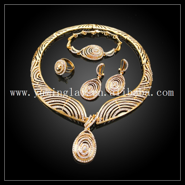 Online Shop real 24k gold jewelry set big african ring necklace