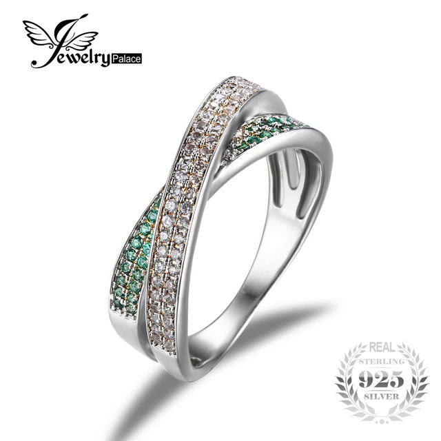 JewelryPalace Infinity CZ Russian Nano Emerald Anniversary Wedding Band Ring 925 Sterling Silver For Women 2016 New High Quality