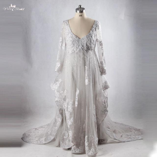 Aliexpress Buy Rse710 Dubai Kaftan Long Grey Dresses Plus Size