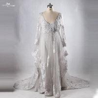 RSE710 Dubai Kaftan Long Grey Dresses Plus Size Evening Dresses