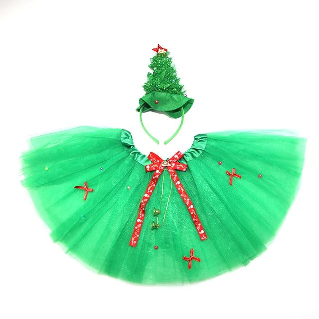 2pcsset christmas tree costumes headband wand tutu skirt set angle girls fairy dress outfit