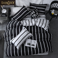 Bonenjoy Black and White Colo Striped Bed Cover Sets Single/Twin/Double/Queen/King Quilt Cover Bed Sheet Pillowcase Bedding Kit