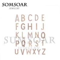Somsoar Hot Sale Keep Keys Pave Crystal 26pcs Letter A-Z Charms for Leather Keepers wrappable Bracelet and Pendant Necklace