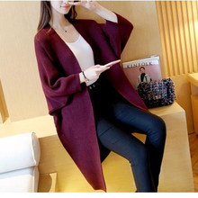 2019 Women Long Cardigans Autumn Winter Open Stitch Poncho Knitting Sweater female Oversized Shawl Cape Jacket Coat trench coat(China)