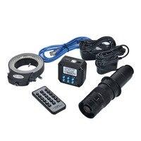 HD 16MP 1080P @ 60FPS HDMI USB Digitale Industrail Macchina Fotografica del Microscopio + 180X C mount Lens + 144 Led luce per L'industria PCB Microscopi|microscope camera|c-mount lensdigital microscope camera -