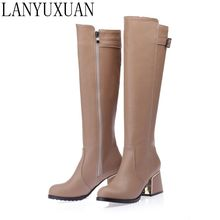 LANYUXUAN 2017 New Big size and Small Sale 30-54 Botas Mujer Boots Shoes Woman Fashion High heels Autumn Winter Boots Women A18
