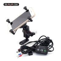 Phone Holder USB Charger For YAMAHA XT660 R/X/Z XT660R XT660X XT1200Z V MAX 1700 Motorcycle GPS Navigation Bracket X Grip