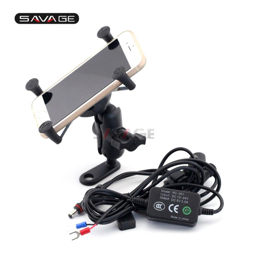Phone Holder USB Charger For YAMAHA XT660 R/X/Z XT660R XT660X XT1200Z V-MAX 1700 Motorcycle GPS Navigation Bracket X-Grip yamaha mg10xu usb