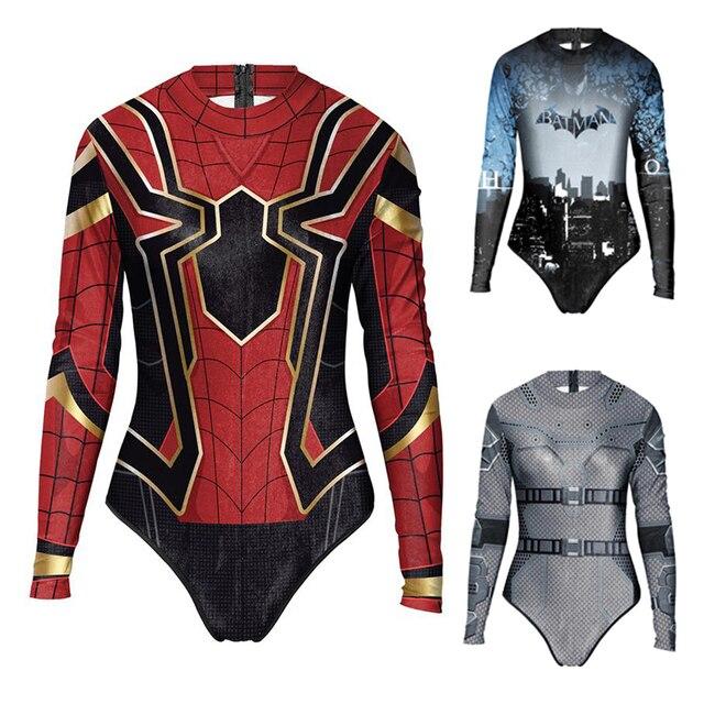 634fed8b9b1a1 2019 New Summer Sexy Girl Long Sleeve Spiderman Batman Swimwear Bodysuit 3D  Prints One Piece Women Swimsuit Sport Bathing Suit