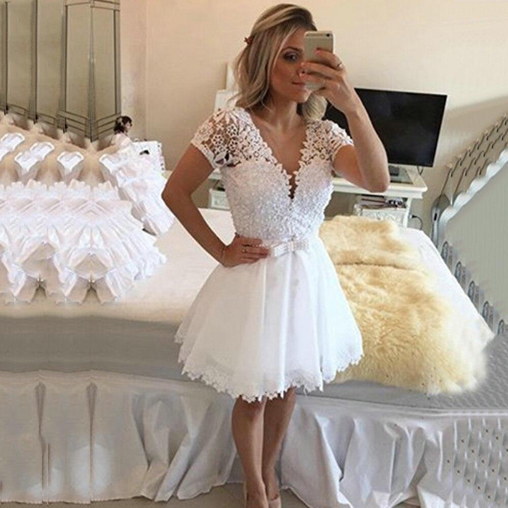 Elegant V-Neck Short Sleeve Short Cocktail Dresses 2019 Arrival Knee-Length Lace Appliques Cocktail Dresses