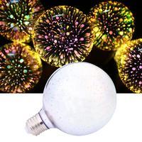 Abajur 3D LED Fireworks Retro Edison Bulb 5W E27 G95 Night Light Home Bar Decor Lighting