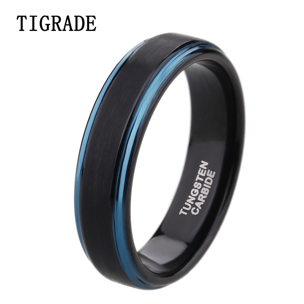Black And Blue Tungsten Carbide Wedding Ring