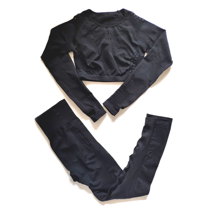 Seamless Long Sleeve T-shirts Crop Tops + Gym Leggings Sports Clothing Women Fitness Clothes 2 Piece Yoga Set Sports Suits