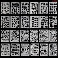 24 pçs modelo de desenho estênceis diário caderno scrapbooking a5 diy artigos de papelaria escola material de escritório|Réguas| |  -