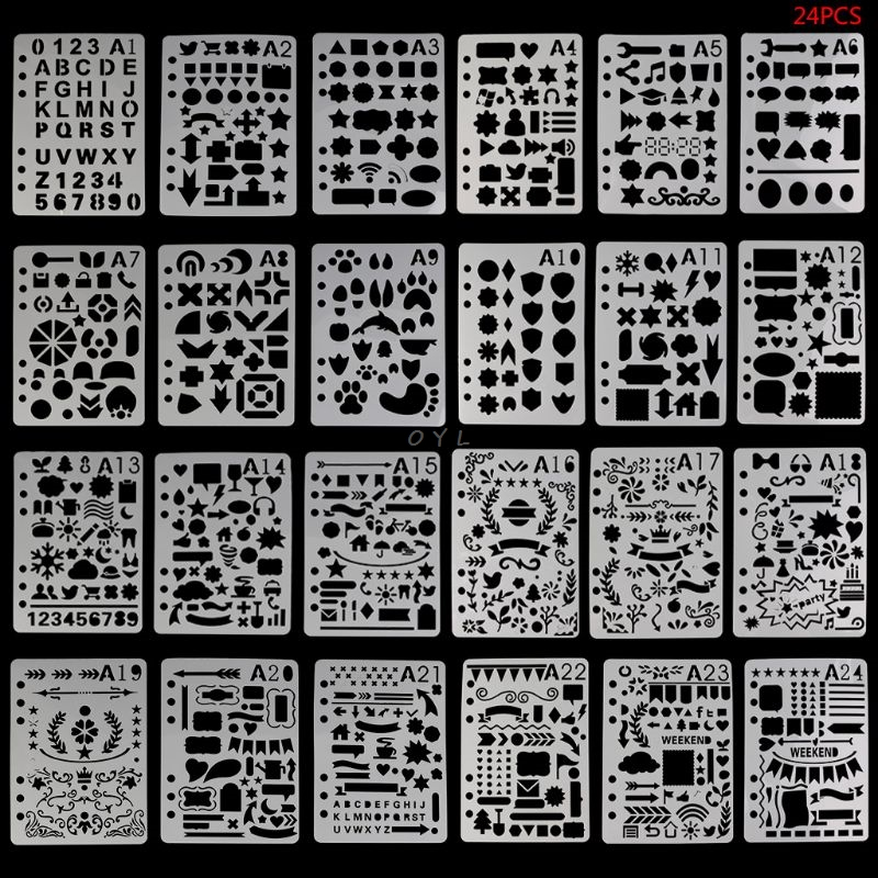 24Pcs Drawing Template Stencils Journal Notebook Diary Scrapbooking A5 DIY Stationery School Office Supplies