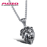 Fashion Men Jewelry Silver Gold Stainless Steel Domineering Lion Head Pendant Necklace Punk Style Man Party