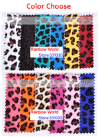 8 Orange High Quality Mirror PU Leather Fabric With Leopard Pattern For DIY Car Shoes Bags