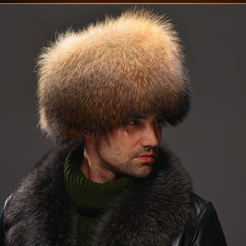 HM030  Real genuine racoon dog  hat  winter Russian men's warm caps whole piece racoon dog  fur hats roomble люстра racoon white