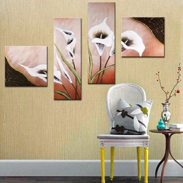 4 Pcs/Set No Framed Canvas Wall Art Calla Lily Flower Living Room ...