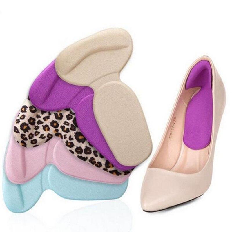 Silicone High Heel Shoe Insoles Cushion Pad T-Shape Anti-slip Gel Heel Liner Grip Shoe Insert Foot Care Protector Color Randomly