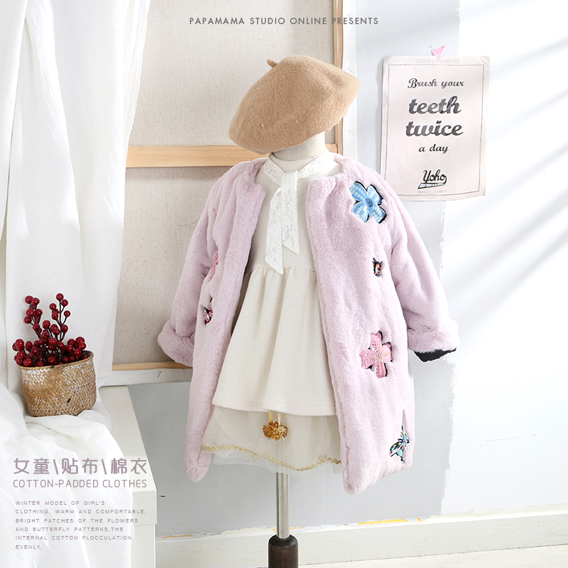 Autumn Winter Children Jackets Baby Little Single Breasted Child Coat Girl Outerwear Jackets Girls Bow Girl Pink Purple Clothes girl jackets coat for winter baby girl down