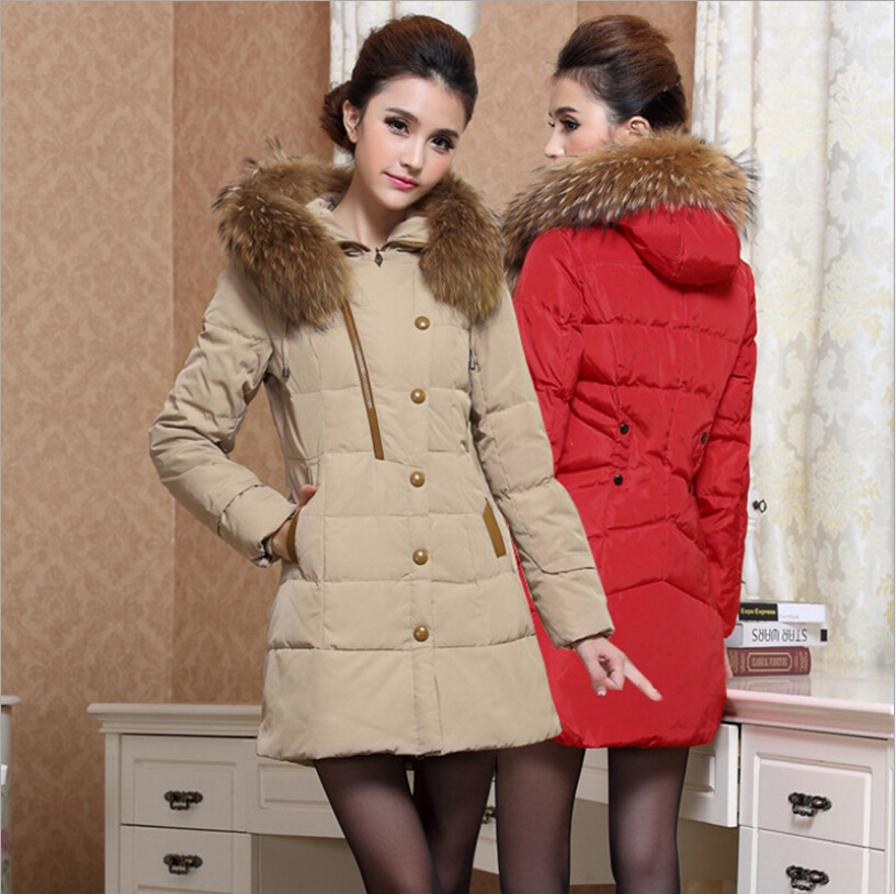 2015 winter long down jacket large fur collar down jacket coat lady cheap clothes china women