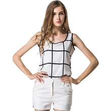 WomensDate 2017 Summer Women Chiffon Vest O Neck Sleeveless Black White Plaid Top Shirts Tank For Girl Casual Tops Vest