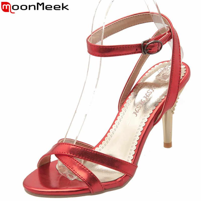 MoonMeek artı boyutu 34-47 yeni yaz sandalet toka yüksek topuklu ayakkabı zarif bayanlar balo düğün ayakkabı klasik kadın sandalet 2019