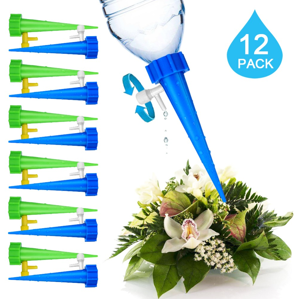 12Pcs Plant Self Watering Adjustable Stakes System Vacation Plant Waterer Self Automatic Watering Spikes Irrigation System 12Pcs Plant Self Watering Adjustable Stakes System Vacation Plant Waterer Self Automatic Watering Spikes Irrigation System