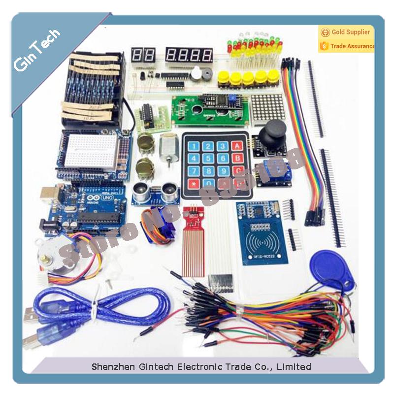 Prix pour Nouvelle arrivée RFID Kit de Démarrage pour arduino Uno R3-Uno R3 planche à pain/Moteur Pas À Pas/Servo/IIC 1602 LCD/cavalier/relais