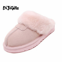 Plus Size 44 Men Women Winter Warm Genuine Sheepskin Leather Real Wool Fur Slippers Indoor Home