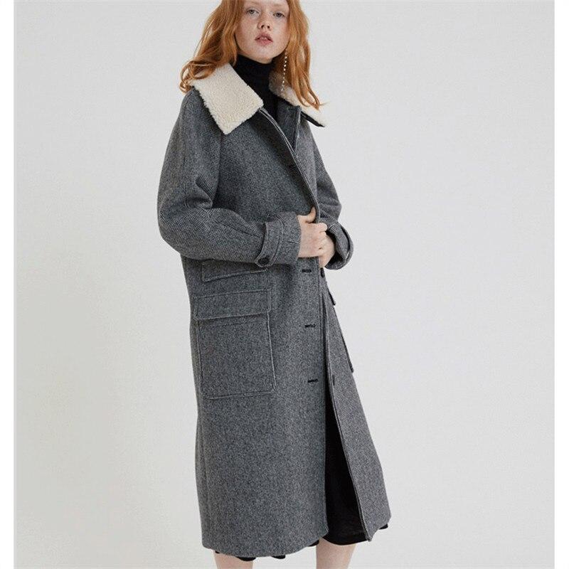 La Femmes D'hiver Dames Long Manteau Vintage Carreaux Coréenne À 2018 Manteaux Mode Taille Plus Laine 2xl 6Fww5qp