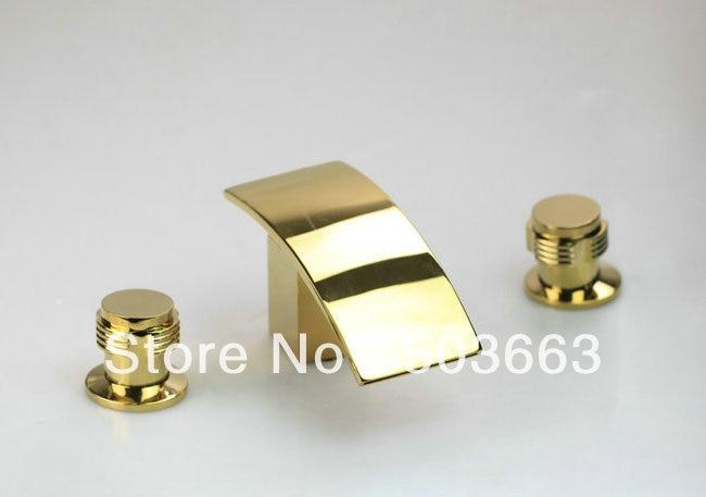 contemporary Bathroom Waterfall Bathtub Basin Sink Spout Mixer Tap 3 PCS Brass Golden Polished  Faucet Set A-002