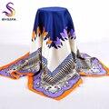 Alta calidad bufanda de seda impresa 2016 recién llegado de mujeres accesorios 90 * 90 cm Square bufandas Wraps de oro del diseño bufandas