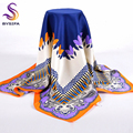 High Quality Silk Scarf Printed 2016 New Arrival  Women Accessories 90*90cm Square Scarves Wraps Golden-plating Design Scarfs