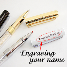 High Quality Custom Personalized Crystal Signature Writing Ballpoint Pen Diamond Office Stationery Customized Gift