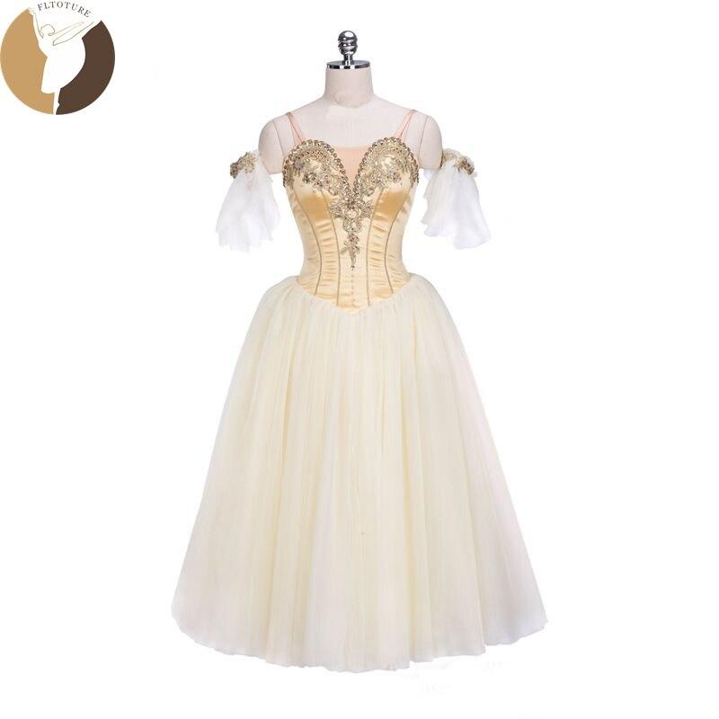 FLTOTURE professionnel romantique Tutu cendrillon danse robe classique Ballet Costumes pour filles jaune Long Tutu jupes 7 couches
