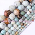 "Amazonite Natural Smooth Multicolor Round Gem Stone Beads 15"" 4,6,8,10mm For DIY Necklace Bracelet Jewelry Making,Free Shipping"