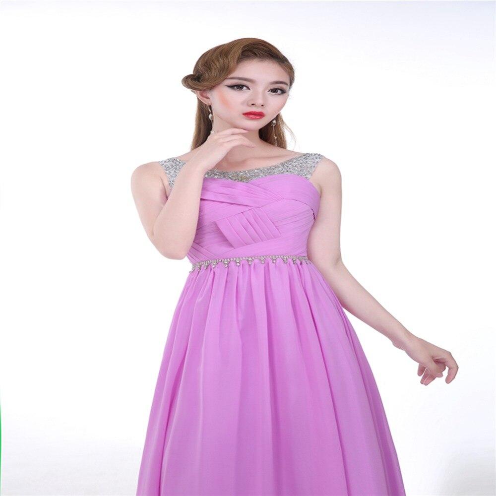 Asombroso Vestido De Fiesta De Gasa De Color Púrpura Friso ...