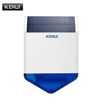 KERUI Wireless 433mhz Outdoor Strobe Solar Powered Siren LED Flashing Response Sound 110 dB Waterproof Siren for Alarm System