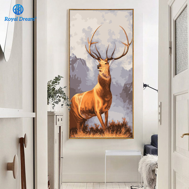40x80cm Christmas Deer Poster Hand Painted Oil Painting On