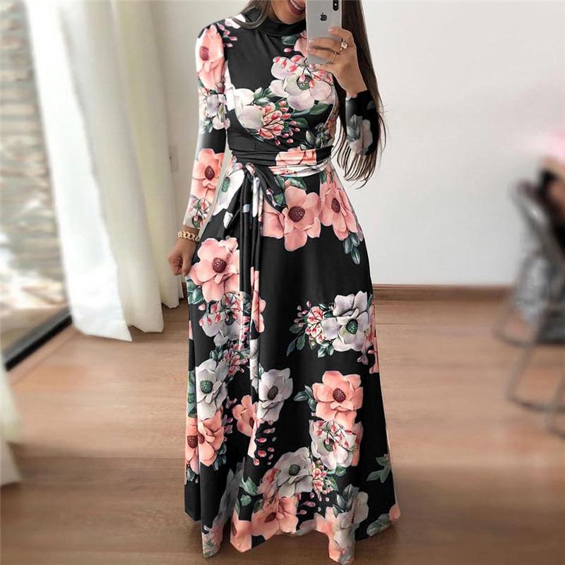 Women Long Dress Floral Print Beach Maxi Dress Casual Long Sleeve
