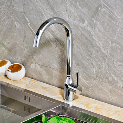 Chrome Finished Countertop Kitchen Sink Faucet Single Handle Hole Hot and Cold Water Faucet