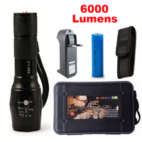 LED Flashlight Tactical 6000 Lumens CREE XM L2 Zoomable 5 Modes Black Aluminum Alloy LED Flashlights