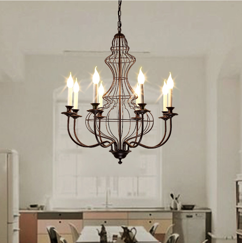 American Vintage Iron Chandelier Light Duplex Staircase Restaurant Living Room Villa Chandeliers Lighting Lustre Free Shipping 2017 luminaria american retro crystal iron chandelier living room bedroom restaurant golden vintage art lighting free shipping