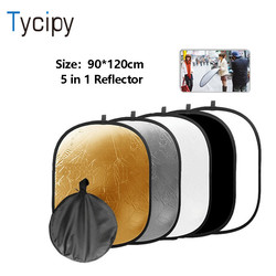 Tycipy 90*120CM  5 in 1 Photography Light Reflector for Photographic Oval Collapsible Multi Disc Studio Photo Camera Lighting